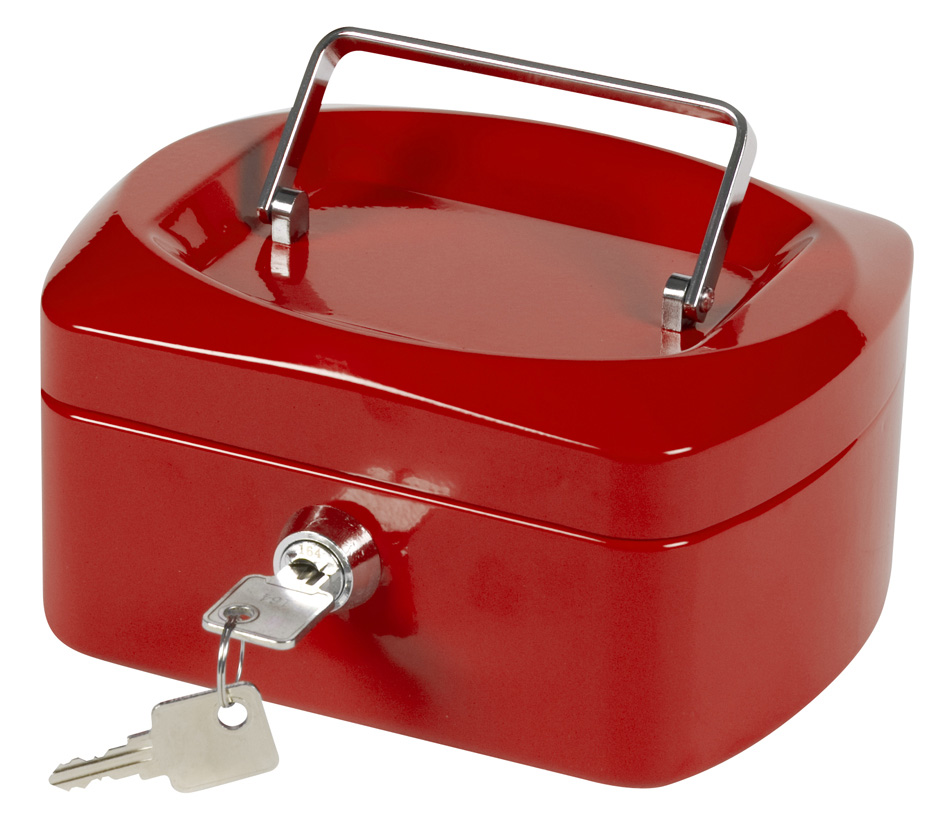 Q-Connect KF04249 Cash Box 8-inch Red